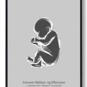 1:1 Fødselsplakat - grå
