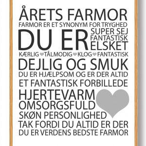 Årets farmor plakat - hvid
