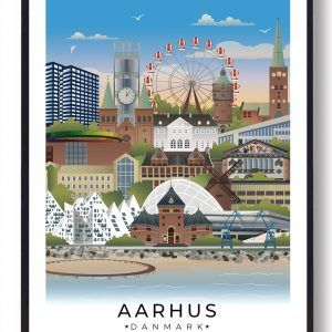Aarhus byplakat med hvid kant