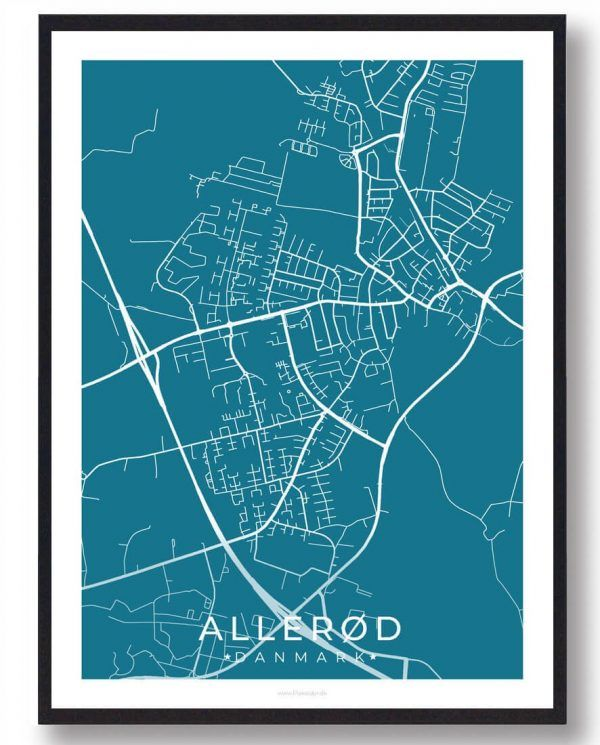 Allerød byplakat - blå