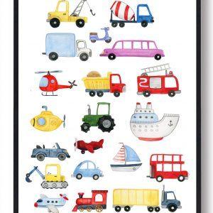 Bil, traktor, fly og både - håndtegnet plakat
