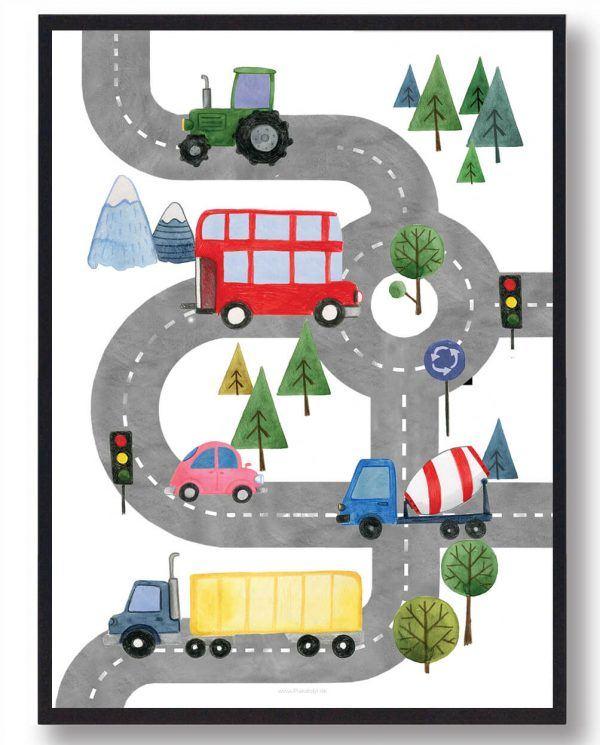 Biler på vejen - håndtegnet plakat