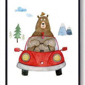 Bjørnen - håndtegnet plakat