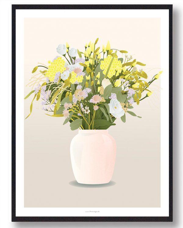 Blomster i vase - plakat