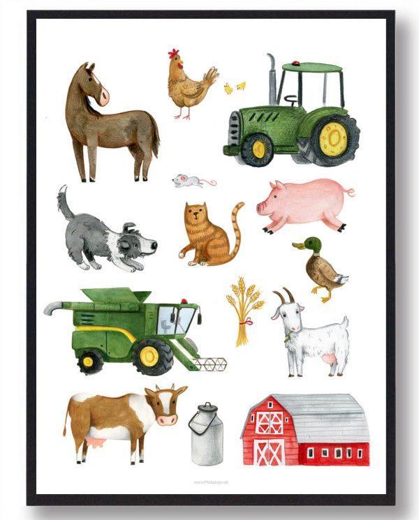 Bondegårdsdyr - håndtegnet plakat