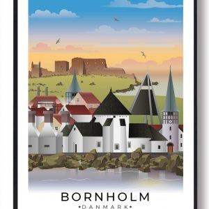 Bornholm byplakat med hvid kant