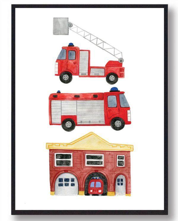 Brandstation - håndtegnet plakat