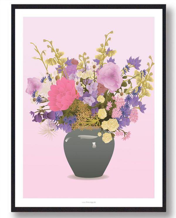 Buket i grå vase - plakat