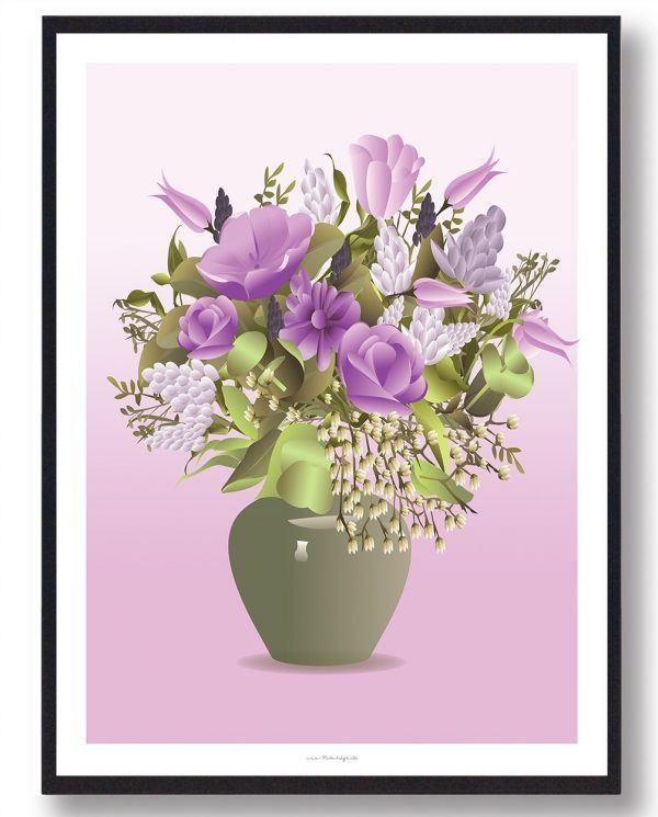 Buket i grøn vase - plakat