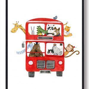 Bus med dyr - håndtegnet plakat