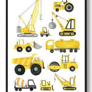 Bygningskøretøjer - håndtegnet plakat