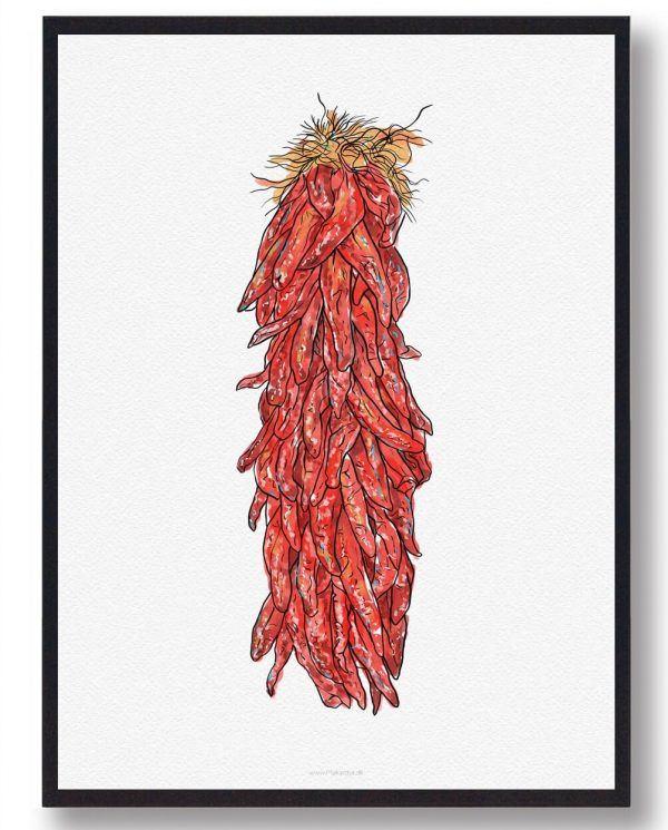 Chili på snor plakat - håndtegnet motiv