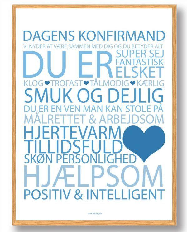 Dagens konfirmand plakat - blå