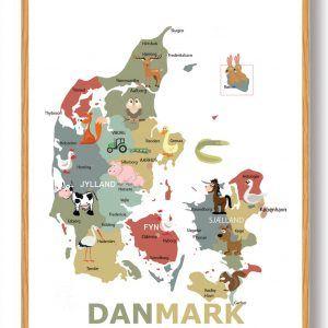 Danmarkskort til børn - plakat