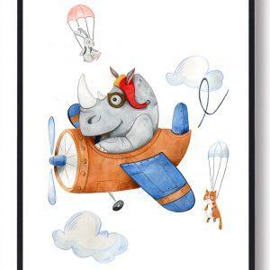 Det flyvende næsehorn - håndtegnet plakat