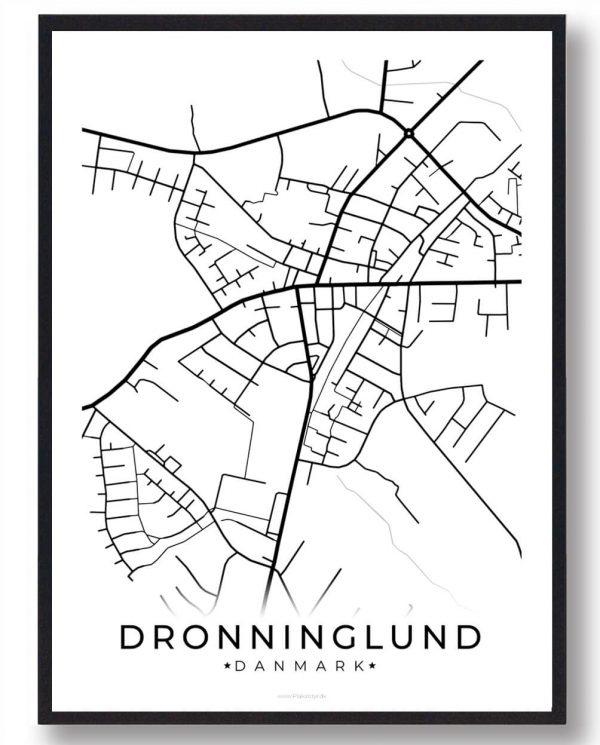 Dronninglund byplakat - hvid