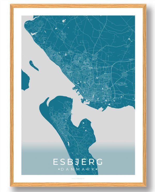 Esbjerg plakat - blå