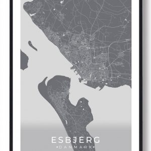 Esbjerg plakat - grå