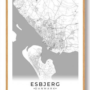 Esbjerg plakat - hvid