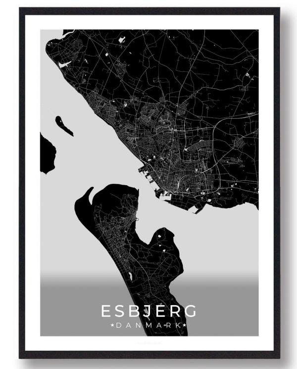 Esbjerg plakat - sort