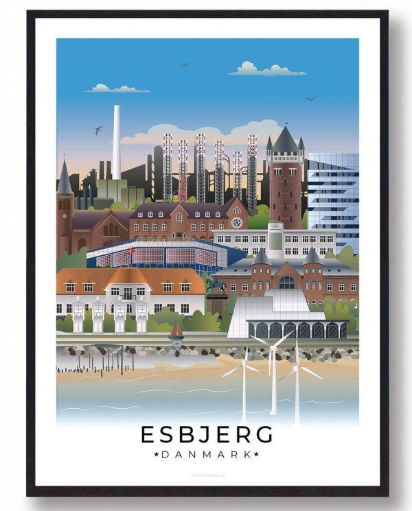 Esjberg byplakat med hvid kant