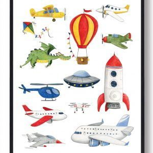 Fly og helikopter - håndtegnet plakat