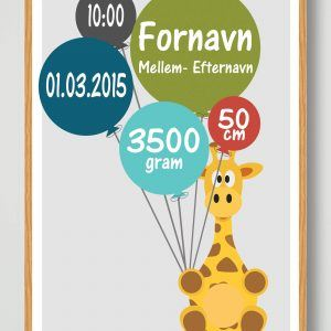 Fødselsplakat Giraf