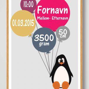 Fødselsplakat Pingvin