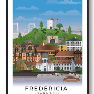 Fredericia byplakat med hvid kant