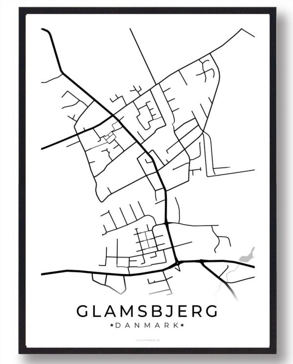Glamsbjerg byplakat - hvid