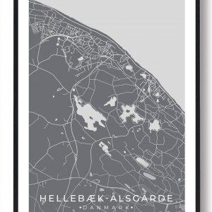 Hellebæk - Ålsgårde byplakat - grå