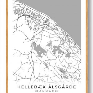 Hellebæk - Ålsgårde byplakat - hvid