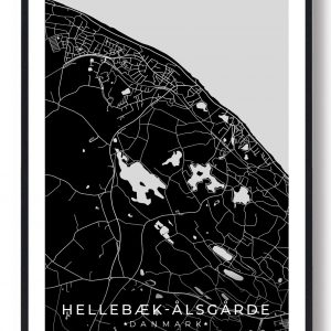 Hellebæk - Ålsgårde byplakat - sort