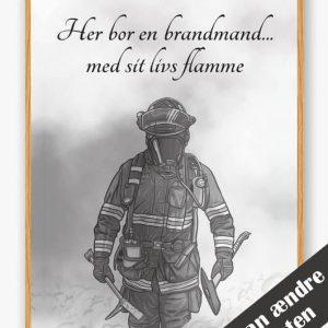 Her bor en brandmand... - plakat