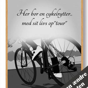Her bor en cykelrytter... - plakat