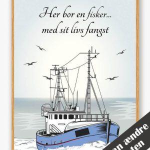 Her bor en fisker... - plakat