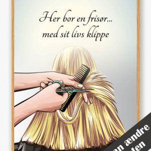 Her bor en frisør... - plakat