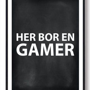Her bor en gamer - gamerplakat (sort PC)