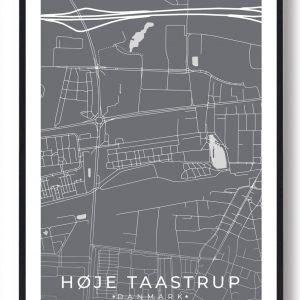 Høje-Taastrup byplakat - grå