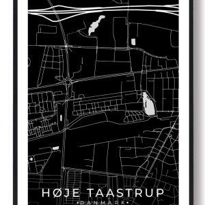 Høje-Taastrup byplakat - sort