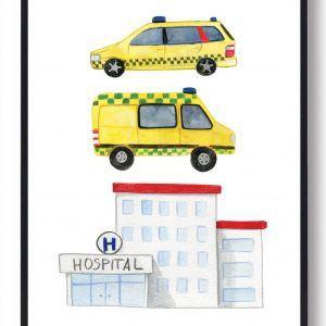 Hospital - håndtegnet plakat