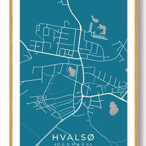 Hvalsø byplakat - blå