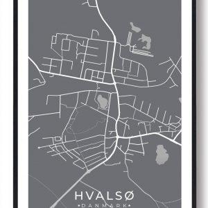 Hvalsø byplakat - grå