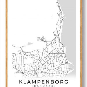 Klampenborg byplakat - hvid