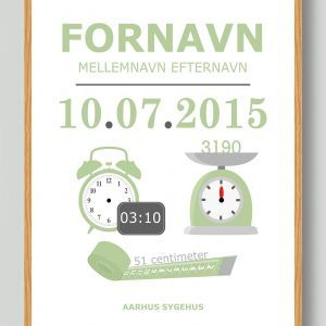 Klassisk fødselstavle (lysegrøn) - plakat