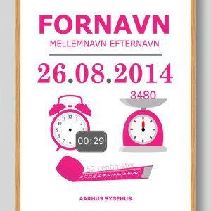 Klassisk fødselstavle (lyserød) - plakat