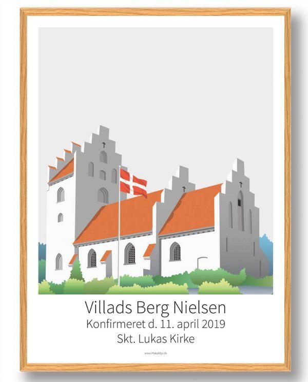 Konfirmationsplakat kirke - lysegrå baggrund