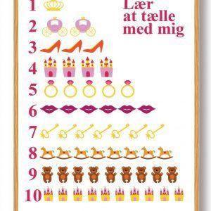 Lær at tælle prinsesse - plakat