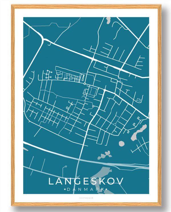 Langeskov byplakat - blå