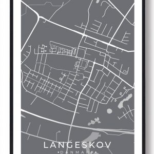 Langeskov byplakat - grå
